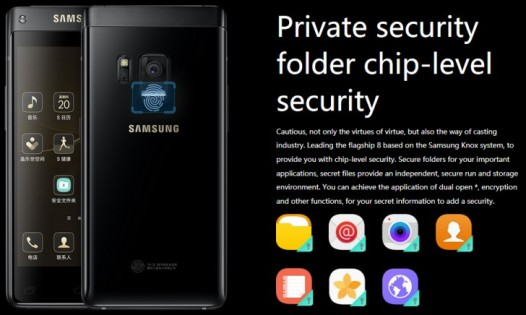 "Samsung ""Leadership 8"" premium flip phone with dual screens"